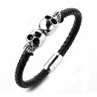 Fashion jewelry custom engraved leather bracelet stainless steel magnetic clasps leather men skull bracelet