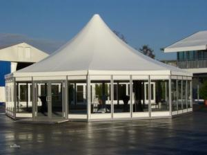 China 2018 hot sale 6m White Reinforced pvc fabric Maggiolina hexagon roof top polygonal tent for sale on sale
