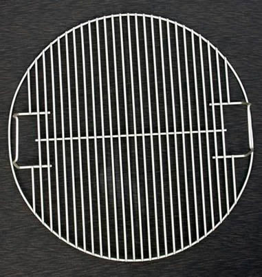A round welded zinc-coated barbecue grill net with two handles