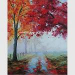 Abstract Palette Knife Oil Painting Handmade Landscape Autumn Forest For Star Hotels