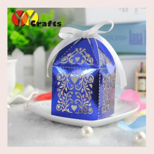 China Metallic blue favour boxes for wedding high quality popular wedding gift boxes on sale