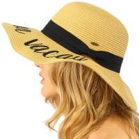 """Printed Logo Fun Verbiage Wide Brim Floppy Beach Hat , 4"""" Summer Straw Hats Women"""