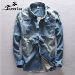 Slim Fit Mens Skinny Denim Shirt , Cotton Denim Shirt Eco Friendly Light Weight