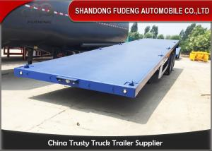 China 40ft / 20ft  Double Tire 50 Ton Flatbed Cargo Trailer Leaf Spring Suspension on sale
