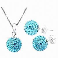 Silver Shamballa Jewelry Set with Crystal Beads and Rhinestone
