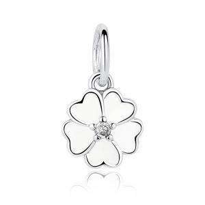 China Genuine 925 Sterling Silver Pendants , White Primrose Flower Pendant on sale