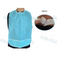 CPE Waterproof Disposable Dental Bibs with Velcro Blue Color 45 X 48cm