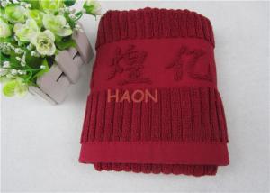 China 32s Gift Embroidered Hand Towels Jacquard Stripe Satin Edge INTERTEK on sale