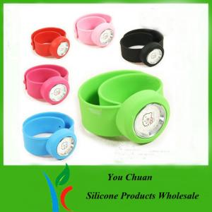 China Pink / Purple / Red Silicone Snap Slap Wristband Watch With Hello Ketty face on sale