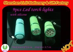 China High quality aluminium and silicone 9pcs best  led mini led torch light  on sale