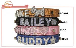 China Luxury Multi Colored Snake Skin DIY Dog Collar With Personalized Bling Letter Slide Charms on sale