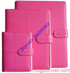 China Custom girl Leather Note book, pink leather notebook, gift business notebook on sale
