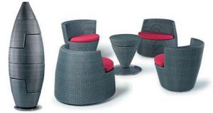 China All Weather Bullet Stackable Rattan Coffee Shop Table And Chairs Sets on sale