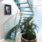 High Quality Indoor / Outdoor Stair Steps Lowes for Carbon Steel Curved Staircase with Open Riser Steps