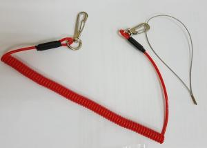 China 3.0mm PU Red Coiled Lanyard Cord with swivel Hooks And Round Loop on sale