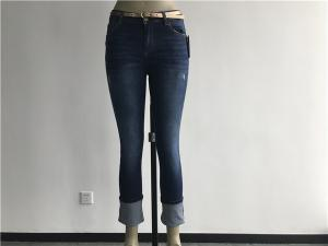 China Ladies' Abrasions Dark Wash Denim Jeans , Stretch Denim Capri Jeans TW79354 on sale