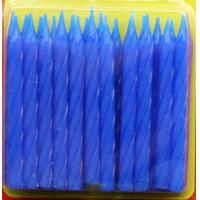 Blue Color 24Pcs Spiral Birthday Candles With Flower Holder Non Toxic SGS Certificate