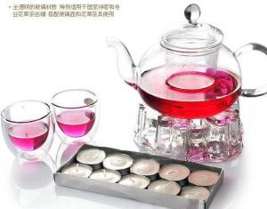 China Borosilicate Glass Tea Set, Crystal Clear Glass Teapot With Warmer on sale