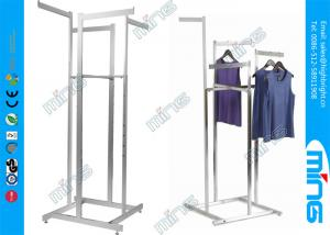 China 4 Way Chrome Metal Clothes Rack with Straight Arms , High Capacity Garment Rack on sale