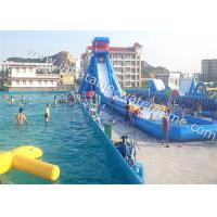 High Durability Water Inflatable Slides Blue White Color Fire Resistant