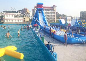 China High Durability Water Inflatable Slides Blue White Color Fire Resistant on sale