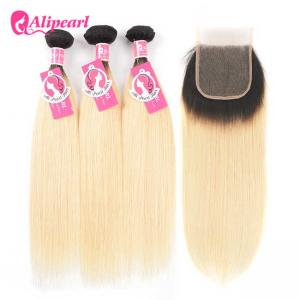 China Straight 1B 613 Human Hair Weave Color 613 With Lace Closure And Baby Hair on sale