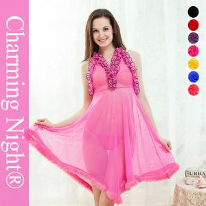 China Pink Sexy nightwear dress  / Sexy Night Dress Fur Edge Ruffle Neck Transparent on sale