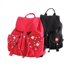 China Red And Black Custom Logo Backpacks , Canvas Drawstring BagsWith Pull String on sale