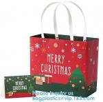 Christmas Large Gift Tote Bags Paper Bags With Handles Holiday Kraft Bags Goody Gift Bags Scarf Glove Gift Bags With Gre