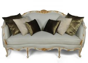 Quality New Clic Wooden Sofa Designs Golden And White Frame Couches For