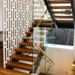 Beautiful Modern Design Double Cantilevered Steel Wood Stringer Glass Staircase