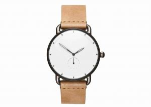China Tan leather wrist watch stainless steel back water resistant 5atm for men on sale