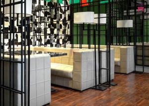 China Square Pattern Hotel Fast Food Restaurant Seating , U Shaped Restaurant Booths on sale