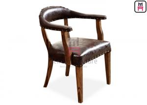 China Brown Indoor Rustic Leather Chair / Sturdy Oak Wood Dining Chair With Armrest on sale