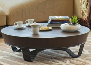 China Round Walnut Traditional Wood Accent Table 120 cm For Aman Resorts Hotel on sale