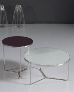 Quality White Painted Glass Metal Coffee Table , Modern Round Console Tables , Black and for sale
