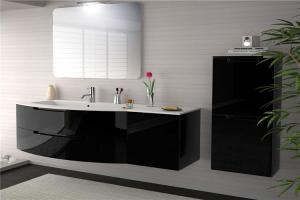 China Single color and stainless steel sink  make custom bathroom vanity people like on sale