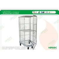 Nestable Fully Enclosed with 1 Fixed Hinged Shelf Roll Cages 4-Sided HBE-RC-5