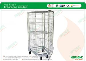 China Nestable Fully Enclosed with 1 Fixed Hinged Shelf Roll Cages 4-Sided HBE-RC-5 on sale