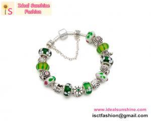 China 925 Silver Green Fairy European beads Bracelet beads jewelry silver with beads bracelet on sale
