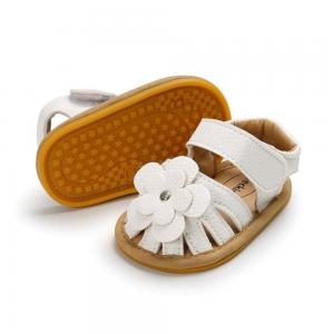 China New summer 0-2 years old infant leather flower baby sandal shoes oem soft sole toddler sandals on sale
