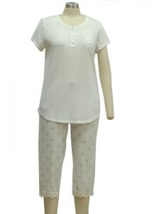 China Solid Color Ladies Pajama Sets Womens Summer Sleepwear Customized Logo on sale