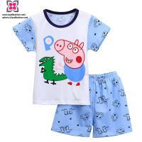 Wholesale Custom kids Boy Print Cotton Short Sleeve Clothing Set/ Home Wear for Summer