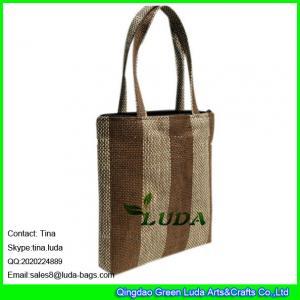 China LUDA wine bottle bag striped straw handbag for promotion on sale