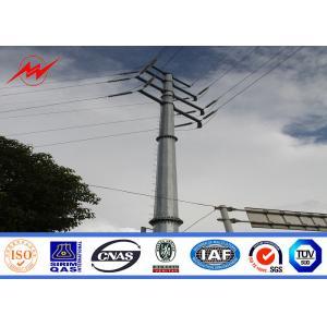 China 69KV steel pole 25ft Galvanized Steel Pole with cross arm on sale