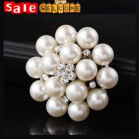 Pearl Brooches for Wedding Bouquets ,White Crystal Flower Brooch Pins Pearl Wholesale