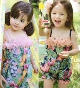 China 2014 Girls short pants girls summer jumpsuit wholesale high quality kids clothing 5pcs/lot on sale