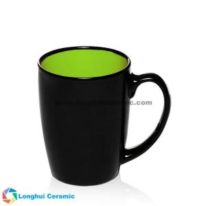 China 12oz Java two-tone black outside color inside customized ceramic coffee mug, brand logo, promotional slogan can be print on sale