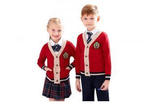 China Red Color School Uniform Sweaters , Boys School Sweater Anti Shrinkage on sale