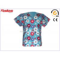 China OEM Printed Medical Scrub Tops Hotel Housekeeping Uniform For Spring on sale